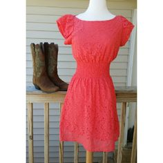 Dress Cute eyelet dress for spring, summer or fall. Put on a blue jean jacket and cowboy boots for a super cute outfit. Shell 62% Cotton 35%Nylon 3% Rayon  Lining 100% Polyester Dresses