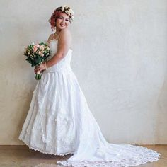 This sweet bride wore one of my creations for her wedding day. It was a combination of two styles I offer and absolutely unique. I'm so honored to have been trusted to create her gown, and so delighted she was happy! Country Wedding Gowns, Unique Wedding Gowns, Western Wedding Dresses, Affordable Wedding Dresses, Boho Wedding Dress, Boho Dress, Bridal Dresses, Flower Girl Dresses, Wedding Slippers