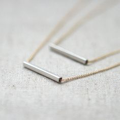Silver bar layered Necklace with gold chain by laonato on Etsy, $18.00