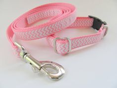 Pink Chevron Dog Collar and Leash Set Small Dog by CollarHabit, $35.00
