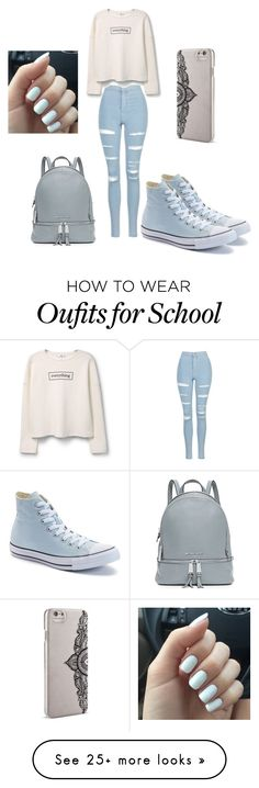 """School......"" by hamidaabdalla on Polyvore featuring Topshop, MANGO, Converse, Nanette Lepore and MICHAEL Michael Kors"
