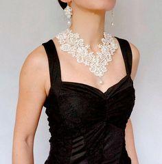 large white lace pearls beaded bib necklace //large wedding