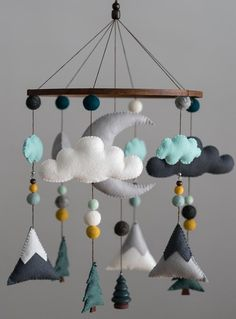 Teal Mustard Mint / Woodland Nursery / Felt Mobile / Mountain Nursery / Felt Moon / Woodland Mobile / Nursery Decor / Monochrome Please read my shop announcement for info on my shop updates :) ****Estimated creation time for all mobiles is weeks unles Mountain Nursery, Forest Nursery, Woodland Nursery, Woodland Decor, Nursery Themes, Nursery Decor, Room Decor, Teal Nursery, Nursery Ideas