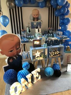 Check out this cool Baby Boss Birthday Party! See more party ideas and share you Boss birthday Boys First Birthday Party Ideas, Boss Birthday, Birthday Themes For Boys, Baby Boy First Birthday, Boy Birthday Parties, Cake Birthday, Baby 1st Birthday, 1st Birthday Decorations Boy, Pink And Gold Birthday Party