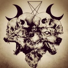 """Wolf Skull Satan Drawing"" - Sometimes I wonder if all deception is buried inside a dual controlled opposition type of illusion; base meaning; lesser of two evils; but most people can't imagine even that level of deception is manufactured so people about finding out some bigger truth? It's probable if not just possible... Think about it. That would by nature make the outcasts in society. Dare you question BOTH viewpoints!!??!!!"