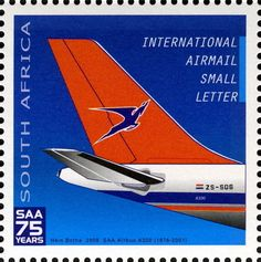 Stamp: Airbus (South Africa) Anniversary of South African Airways) Mi:ZA Union Of South Africa, Aviation World, Small Letters, African History, Afrikaans, Print Ads, Postage Stamps, Vintage Posters, Lettering