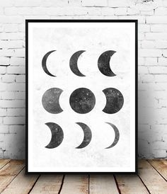 moon phase print, black and white, Lunar phases art, elegant art, Home decor, astrology print, moon poster, watercolor print, geometric art,