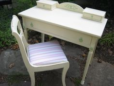 green hardware on cream desk White Desks, Stool, Chair, Vintage Furniture, Pretty In Pink, Pink And Green, Hardware, Projects
