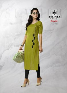 DEEPTEX-LAILA BY DEEPTEX PRINTES DESIGNER FANCY COLORFUL STYLISH HEAVY RAYON PRINTED KURTIS AT WHOLESALE PRICE