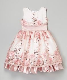 Look at this Pink & White Sequin Floral Dress - Infant, Toddler & Girls on #zulily today!
