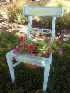 """Old Chair repurposed into an adorable """"Garden Chair""""... love!"""