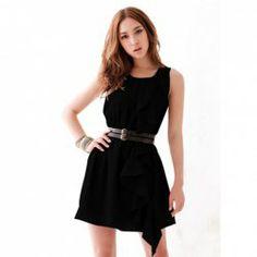 $7.09 Elegant Round Neck Flouncing Embellished Solid Color Polyester Dress For Women (Without Belt)