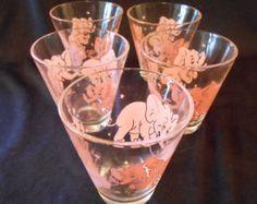 Vintage Hazel Atlas Dancing Pink Elephants Shot Glasses