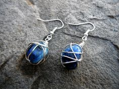 Wire Wrapped Gemstone Earrings $24.50 - handmade gemstone jewelry, wire wrapped jewelry handmade, sodalite, semiprecious stone, bridal earrings - These beautiful wire wrapped earrings are made with deep blue sodalite stone beads - I personally wire wrap each individual piece by hand. This is an elegant option to add to your jewelry collection!  - https://www.etsy.com/listing/126456518/wire-wrapped-gemstone-earrings-handmade?
