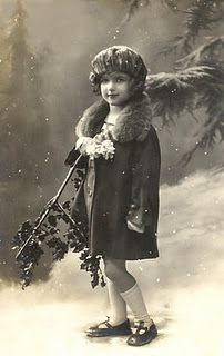 old studio portrait of a child, winter style