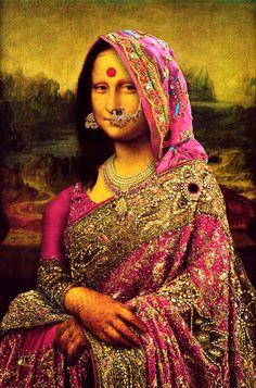 Leonardo da Vinci's Mona Lisa digs a saree Le Sourire De Mona Lisa, Lisa Gherardini, Tableaux Vivants, La Madone, Mona Lisa Parody, Mona Lisa Smile, Italian Artist, Her Smile, Indian Art