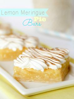 Lemon Meringue Pie Bars -- these always get RAVE reviews! Perfect handheld alternative to regular pie.