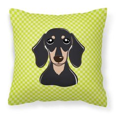 Carolines Treasures Checkerboard Lime Green Smooth Black and Tan Dachshund Square Decorative Outdoor Pillow - BB1277PW1414