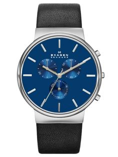 SKAGEN ANCHER | SKW6105 Skagen Watches, Rolex Watches, Watches For Men, Black Leather Watch, Leather Men, Jewelry Accessories, Jewellery Uk, Neue Trends, Necklace Designs