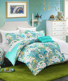 Loving this Aqua Paisley & Polka Dot Comforter Set on #zulily! #zulilyfinds
