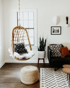 Hanging chair, apartment corner, home decor