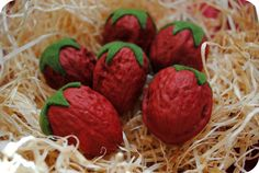 Walnuts painted to look like strawberries. (I would add a few black paint dots for seeds)Picture only,but look easy to make.