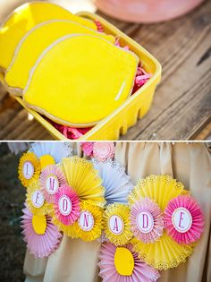 Fresh Lemonade Dessert Table  |  TheCakeBlog.com. love the paper fans