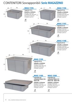 Superimposable PEHD containers.  With full-thickness walls and even bottom.  Suitable for all industrial and commercial purposes.  Acid, oil and solvent-proof.  Sized for the use of 1200 x 800 Euro pallets.