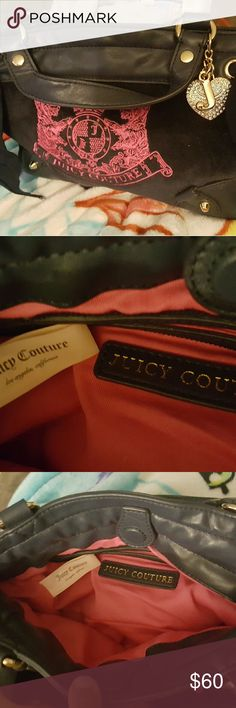 JUICY COUTURE MED PURSE MED SIZE BLACK JUICY COUTURE PURSE IN GOOD CONDITION HOLD A LITTLE BIT GREAT FOR A NIGHT OUT TWO SMALL POCKETS ON EACH SIDE  MAGNET CLOSURE PINK LINING ZIP POCKET  INSIDE  NO RIPS OR TEARS 10X6 Juicy Couture Bags Satchels