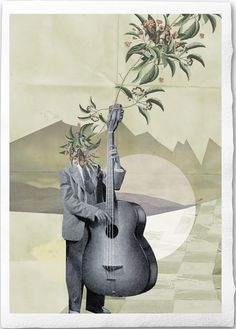 The Music Man - Fine Art Collage Illustration Print Handmade Watercolor Paper, 8x12 inch, Guy with contrabass guitar playing music. €18.00, via Etsy.