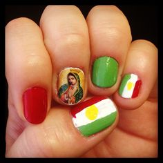 #Mexico #nailart for #independence day or 16 de Septiembre, again, thanks to Cha Cha Covers!
