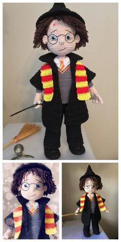 Educational and interesting ideas about amigurumi, crochet tutorials are here. Tricot Harry Potter, Harry Potter Free, Harry Potter Scarf, Harry Potter Dolls, Harry Potter Crochet, Crochet Disney, Crochet Lovey Free Pattern, Crochet Double, Single Crochet Stitch