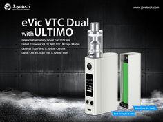 Ultima aparitie de la joyetech - EVIC VTC Dual fratele mai mare a lui VTwo , poate functiona cu una sau doua bateri , in pachet aveti doua capace magnetice pentru a personaliza modul http://www.mahoarca.ro/moduri-electr…/joyetech-evic-vtc-dual