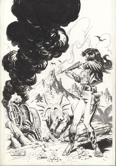 Cool under fire! Mark Schultz' lineart for Xenozoic Tales #9's cover. (Beneath his signature, Schultz gives a nod to Al Williamson for the composition's inspiration.)
