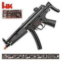 H&K MP5 Navy Dual Power Airsoft Rifle airsoft gun by Heckler & Koch. $74.99. H&K MP5 Navy:  The H&K MP5 Navy Dual Power that features a 46-shot drop out magazine, collapsible stock, adjustable rear sight, and the ability to shoot in either semi- or full-auto at 300 fps. Dual power means it can operate with or without batteries.  Specifications: Caliber:  6mm. AirSoft.  Capacity:  46.  1 Magazine.  Full or Semi-auto.  Dual Power (Battery, Spring).  Velocity:  300 fps.
