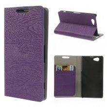 Capa Sony Xperia Z1 Compact Book Wood Wallet Roxa R$37,60