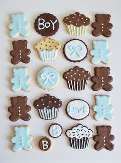 Baby shower Icing cookies. It's a BOY ベイビーシャワークッキー