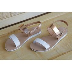 leather sandals womens sandals wide straps by chicbelledejour (€35) via Polyvore