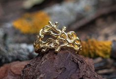"""Abstract 14K Yellow Gold Ring """"ANARIEL"""". Conceptual ring, Casual gold ring, Boho gold jewelry, Fantasy Style Jewelry, Gold Аnniversary Ring by NellyRomanova on Etsy"""