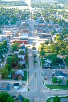 Beautiful downtown Tomah Wisconsin as seen by air on a beautiful ...