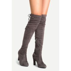 SheIn(sheinside) Coffee Faux Suede Lace Up Side Zipper Over The Knee Boots