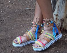 Tie Up Gladiator Leather Sandals Greek Leather Sandals by RiRiPoM