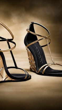 Burberry Black T-bar Metallic Leather Wedge Sandals Dream Shoes, Crazy Shoes, Me Too Shoes, Zapatos Shoes, Shoes Sandals, Frauen In High Heels, Leather Wedge Sandals, Hot Shoes, Beautiful Shoes