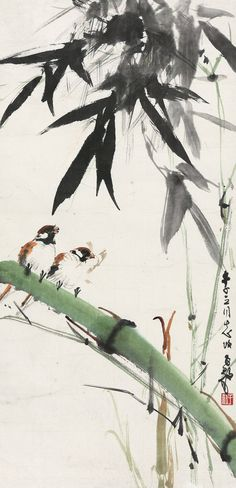 BAMBOO AND BIRDS: Chen Ziyi (b. 1919)