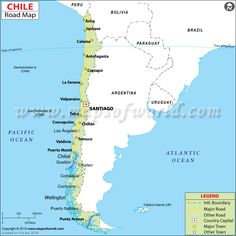 Chile road map showing the major roads, driving directions and national highways network spreaded across Chile with adjoining cities. Bolivia, Puerto Natales, Cities, Easter Island, Lake District, National Geographic, Geography, South America, Outline