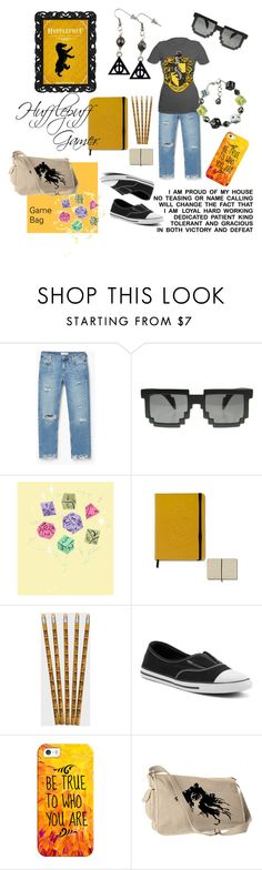 """The Hufflepuff Gamer"" by uniquecreationsbyamy ❤ liked on Polyvore featuring MANGO, Converse and Casetify"