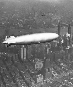 The Hindenburg over Manhattan on the 6th of May 1937. A few hours later it burst into flames in the infamous Hindenburg Disaster.