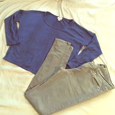 Jeans and shirt bundle Dark grey Forever 21 skinny jeans and Old Navy semi crop 3/4 quarters royal blue shirt. Shirt: 85% polyester, 15% rayon. Jeans: 62% cotton, 24% polyester, 13% rayon, 1% spandexelastane. Jeans Skinny