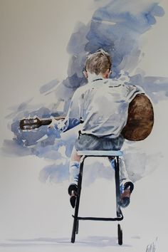 Music Painting, Figure Painting, Art Music, Painting & Drawing, Music Drawings, Art Drawings Sketches, Watercolor Portraits, Watercolor Paintings, Watercolors
