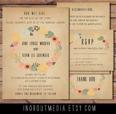 Love the paper tone and colors! Rustic Wedding Invitation Suite  Vintage Floral by inoroutmedia, $60.00